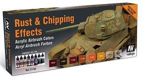 Vallejo Rust & Chipping Effects Model Air Paint Set (8 Colors) Hobby and Model #71186