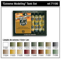 Vallejo Extreme Modelling Tank Model Air Paint Set (16 Colors) Hobby and Model Pain #71190