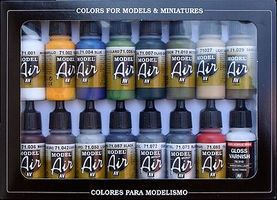Vallejo Building Model Air Paint Set (16 Colors) Hobby and Model Paint Set #71192
