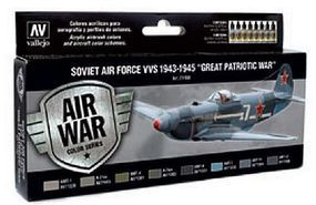 Vallejo 17ml Bottle Soviet Air Force VVS 1943 to 1945 Great Patriotic War Model Air Paint Set (8 Colors)