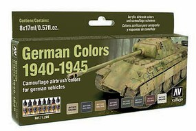 Vallejo 17ml Bottle German Vehicle Camouflage Colors (8 Colors) Hobby and Model Paint Set #71206