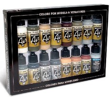 Vallejo 17ml Bottle German WWII Europe & Africa (16 Colors) Hobby and Model Paint Set #71208