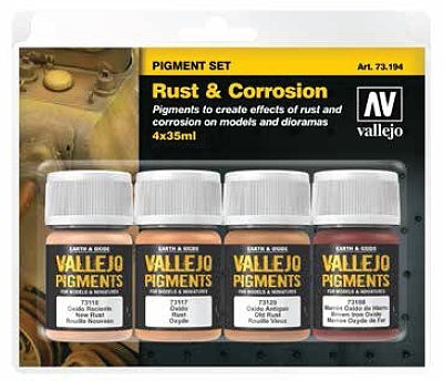 Vallejo Acrylic Paints 35ml Bottle Rust & Corrosion Pigment Powder Set (4 Colors)(New Packaging, Replaces #73196)