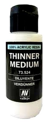 Vallejo Acrylic Paints Thinner Medium 60ml Bottle -- Hobby and Model Acrylic Paint -- #73524