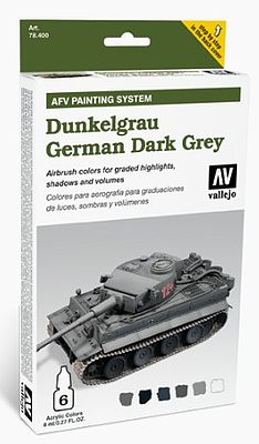 Vallejo Acrylic Paints AFV German Dark Grey Paint Set (6 Colors) -- Hobby and Model Paint Set -- #78400