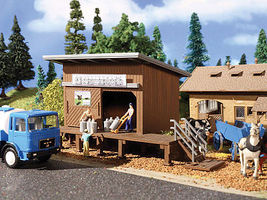 Vollmer Wood Milk Can Collection Shed with Wood Platform Kit HO Scale Model Railroad Building #3856