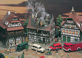 Vollmer House On Fire Kit HO Scale Model Railroad Building #43728