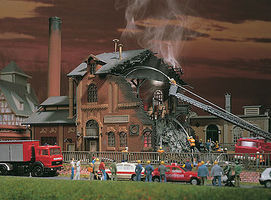 Vollmer Factory On Fire Kit HO Scale Model Railroad Building #45601