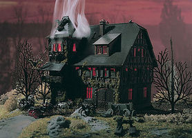 Vollmer Vampire Villa Haunted Mansion w/Flickering Light Kit N Scale Model Railroad Building #47679