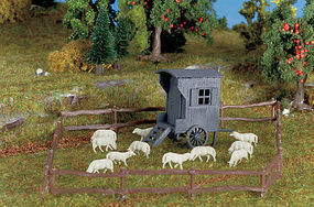 Vollmer Shepherds Carriage w/Sheep N Scale Model Railroad Building Accessory #47717