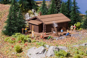 Vollmer Log Cabin w/Barbecue Pit Kit N Scale Model Railroad Building #47727