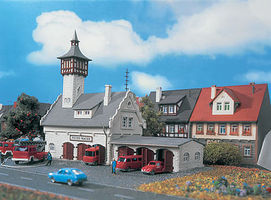 Vollmer Village Fire Station Kit N Scale Model Railroad Building #47781