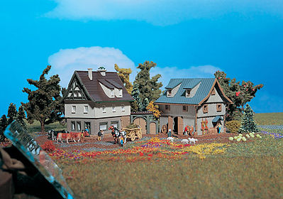 Farmhouse With Barn -- Z Scale Model Railroad Building -- #49540