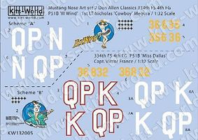 Warbird P51B Ill Wind, Miss Dallas Plastic Model Aircraft Decal 1/32 Scale #132005