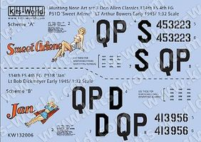 Warbird P51D Sweet Arlene, Jan Plastic Model Aircraft Decal 1/32 Scale #132006