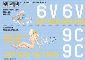 Warbird B25J Bottoms-UP II, Ruthie Plastic Model Aircraft Decal 1/32 Scale #132012