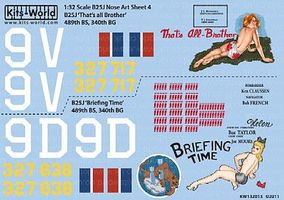 Warbird B25J Thats All-Brother, Briefing Time Plastic Model Aircraft Decal 1/32 Scale #132013
