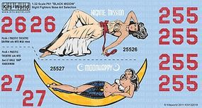 Warbird P61 Nightie Mission, Moonhappy Plastic Model Aircraft Decal 1/32 Scale #132018
