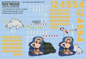 Warbird B17F The Mustang, Lady Luck Plastic Model Aircraft Decal 1/32 Scale #132092