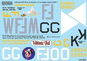 Warbird B17s Mighty 8th AF Wolfess, Vonnie Gal Plastic Model Aircraft Decal 1/48 Scale #148009
