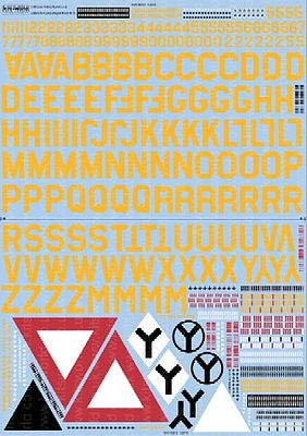 Warbird Decals B17 ID Sq. & ID Lettering, Numbers, Bomb (Yellow) Group Symbols for Camouflage F -- 1/48 -- #148018