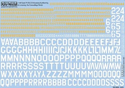 Warbird Decals P51 Lettering, Numbers, Kill Markings for Camouflage Finish -- Decal -- 1/48 Scale -- #148028