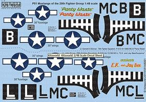 Warbird P51D Panty Waste, EK & Jay Bee Suzanne Plastic Model Aircraft Decal 1/48 Scale #148061