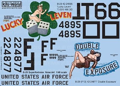 Warbird Decals B29 Lucky Leven, Double Exposure -- Plastic Model Aircraft Decal -- 1/48 Scale -- #148075
