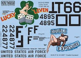 Warbird B29 Lucky Leven, Double Exposure Plastic Model Aircraft Decal 1/48 Scale #148075