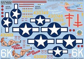 Warbird B25J Heavenly Body, Vestal Virgin Plastic Model Aircraft Decal 1/48 Scale #148112