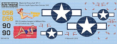 Warbird Decals 1/48 Black Cat Frisco Gal VP11 Riviere Sepik Papua New Guinea 1943, PBY5 Catalina Jumpie Lt William Price VP72 Funfuti July 1944