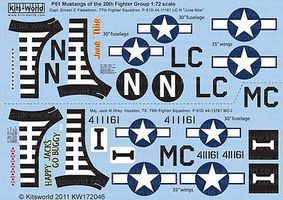 Warbird P51D Happy Jacks Go Buggy, June Nite Plastic Model Aircraft Decal 1/72 Scale #172046