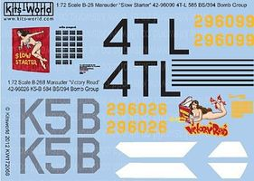 Warbird B26B Victory Read, Slow Starter Plastic Model Aircraft Decal 1/72 Scale #172068