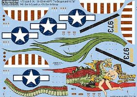 Warbird B24J Dragon & His Tail 64th Bomb Sq/43rd Bomb Plastic Model Aircraft Decal 1/72 #172128