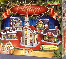 Wrebbit Wrebbit 3D- Christmas Village Foam Puzzles (5)- Chapel, General Store, Toy Store, Candy Store, House