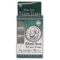 Whitman Dime Size Coin Tubes (5 Pack) Coin Collecting Book and Supply #2891