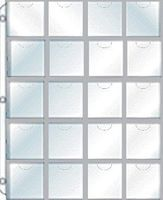 Whitman 20-Pocket Plastic (2x2) 3-Hole Full-View Pages Displays Cardboard Coin Holders, (8-1/2x11 Page) (5/Pk)