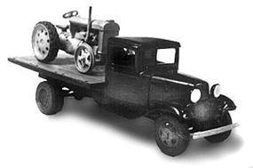 Wheel-Works 1934 Ford Flatbed w/Tractor Kit HO Scale Model Vehicle #96128