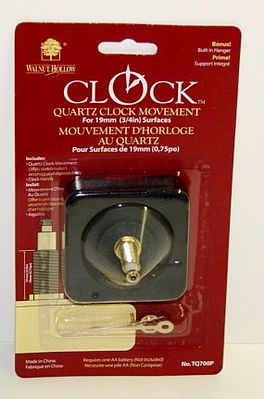 Walnut Hollow 3/4'' Shaft Clock Movement & Hands -- Clock Making Kit -- #700