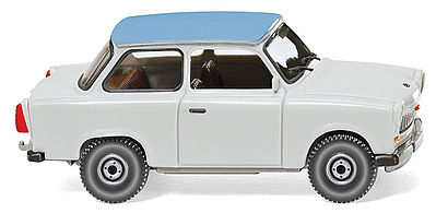 Wiking Trabant 601 S De Luxe Sedan Assembled Gray & Blue -- HO Scale Model Railroad Vehicle -- #12905