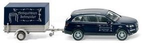 Wiking Audi Q7 Station Wagon w/Covered Low-Side Trailer HO Scale Model Railroad Vehicle #13306