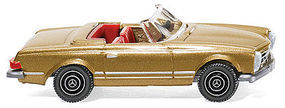 Wiking 1963 Mercedes-Benz 250 SL Convertible Top Down Gold HO Scale Model Railroad Vehicle #14249