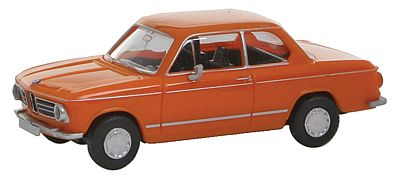 Wiking BMW 2002 Assembled Orange -- HO Scale Model Railroad Vehicle -- #18301