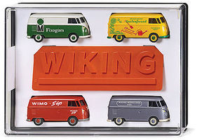 Wiking Volkswagen T1 Cargo Van 4-Vehicle Set Assembled HO Scale Model Railroad Vehicle #217001
