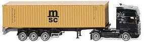 Wiking Scania Cntnr Semi MSC HO Scale Model Railroad Vehicle #52349