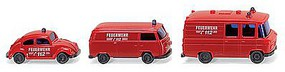Wiking 1970s Fire Service Vehicle Set N Scale Model Railroad Vehicle #93449