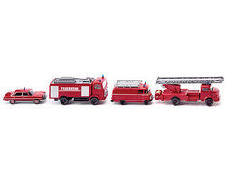 Wiking Fire Service Set (4) HO Scale Model Railroad Vehicle #99088