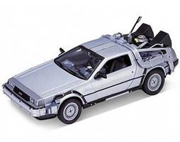 Welly-Diecast DeLorean Time Machine Back To The Future I (Met. Silver) Diecast Model 1/24 scale #22443