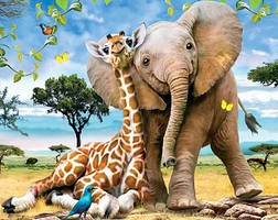 WhiteMount Best Pals Baby Giraffe & Elephant Puzzle Ages 5+ (60pc)