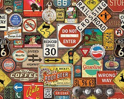 WhiteMount Road Trip Highway Signs Collage Puzzle (1000pc)